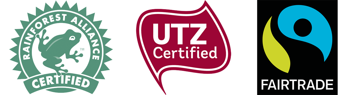 certification logo's Cocoa For A Better Life: Rainforest Alliance, UTZ & Fairtrade